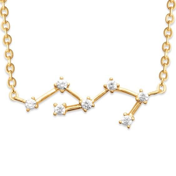 Collier constellation vierge plaqué or et zirconiums - La Petite Française