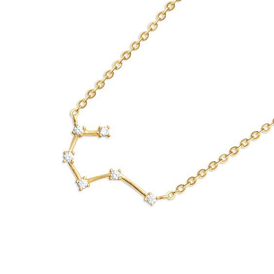 Collier constellation taureau plaqué or et zirconiums - La Petite Française