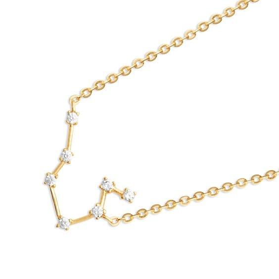 Collier constellation gémeaux plaqué or et zirconiums - La Petite Française