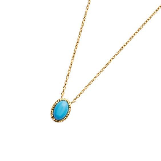 Collier Sophie plaqué or et pierre turquoise - La Petite Française