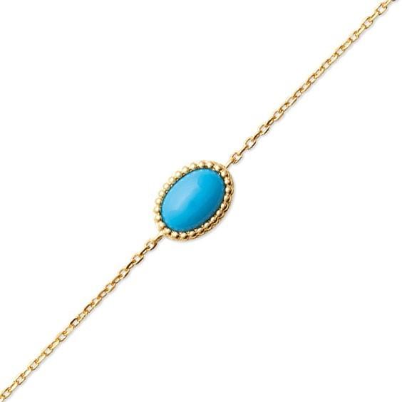 Bracelet Sophie plaqué or et pierre turquoise - La Petite Française