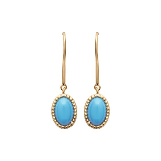 Boucles d'oreilles pendantes Sophie plaqué or et pierre turquoise - La Petite Française