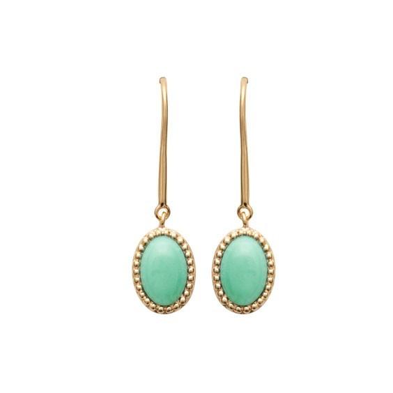 Boucles d'oreilles pendantes Sophie plaqué or et pierre Aventurine