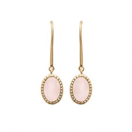 Boucles d'oreilles pendantes Sophie plaqué or et pierre Quartz rose - La Petite Française