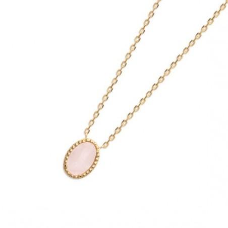 Collier Sophie plaqué or et pierre Quartz rose - La Petite Française