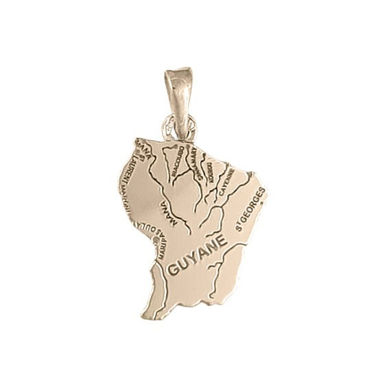 Pendentif carte Guyane Or 18 carats rose - La Petite Française