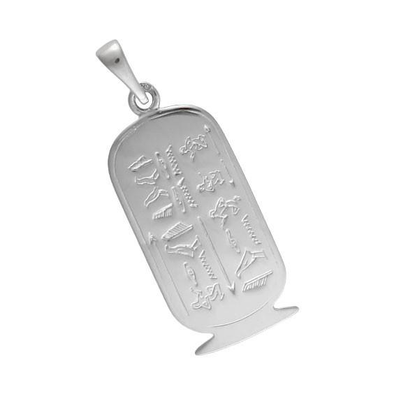 Pendentif cartouche Egyptien Or 18 carats gris - 37 MM - La Petite Française