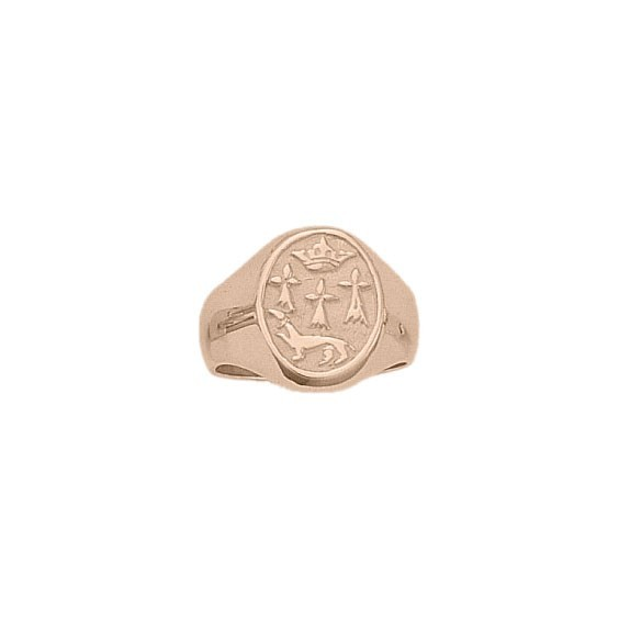 Chevalière hermine Or 18 carats rose - 13 X 15 MM - La Petite Française