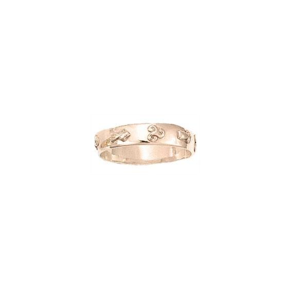 Anneau hermine et triskel Or 18 carats rose - 5 MM - La Petite Française