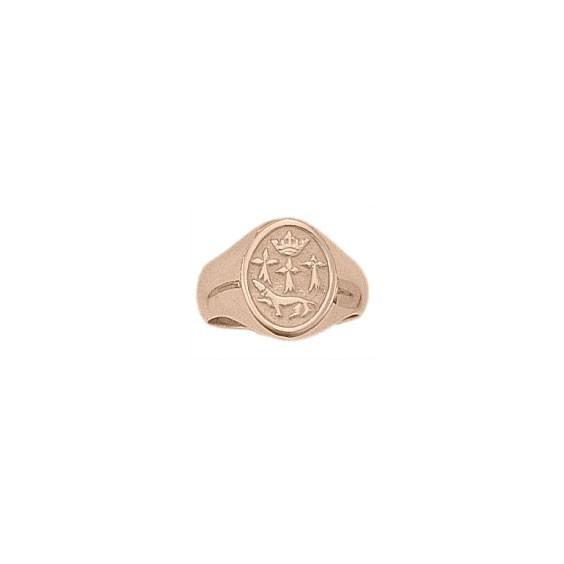 Chevalière hermine Or 18 carats rose - 19 X 11 MM - La Petite Française