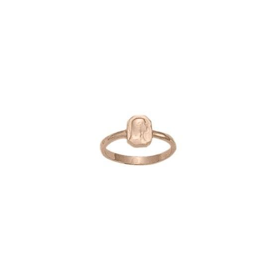 Bague Sainte-Vierge rectangulaire Or 18 carats rose - La Petite Française