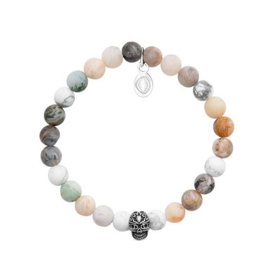 Bracelet perles Howlite, Agate et crâne -  La Petite Française