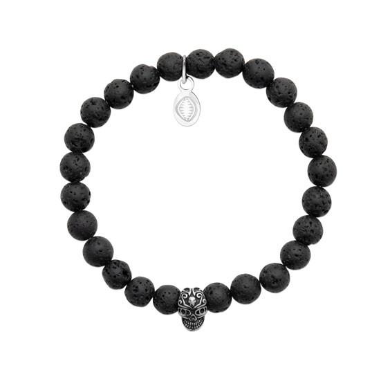 Bracelet perles pierre de lave et crâne -  La Petite Française