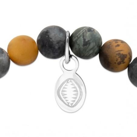 Bracelet perles pierre Labradorite, oeil de tigre, jaspe et crâne -  La Petite Française