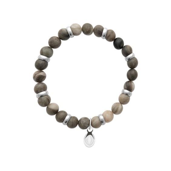 Bracelet perles pierre Jaspe kaki -  La Petite Française