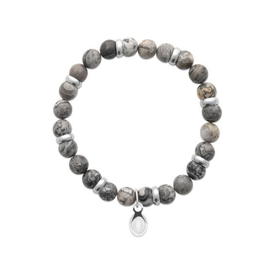 Bracelet perles pierre Jaspe gris -  La Petite Française