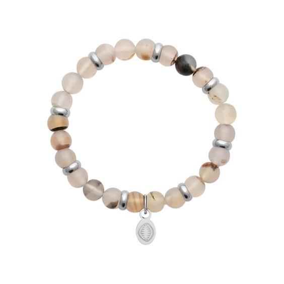 Bracelet perles pierre onyx blanc -  La Petite Française