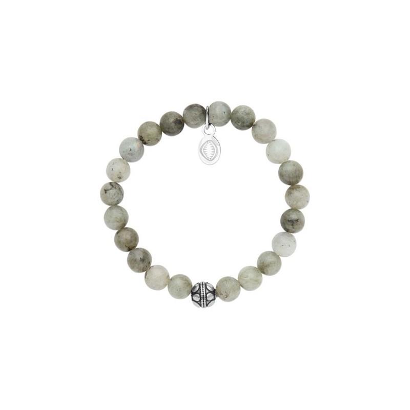 Bracelet perles pierre Labradorite grise -  La Petite Française