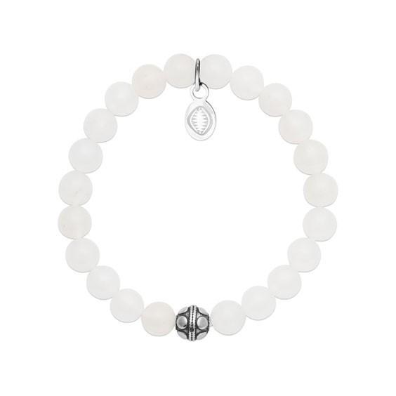 Bracelet perles pierre Jade blanc -  La Petite Française