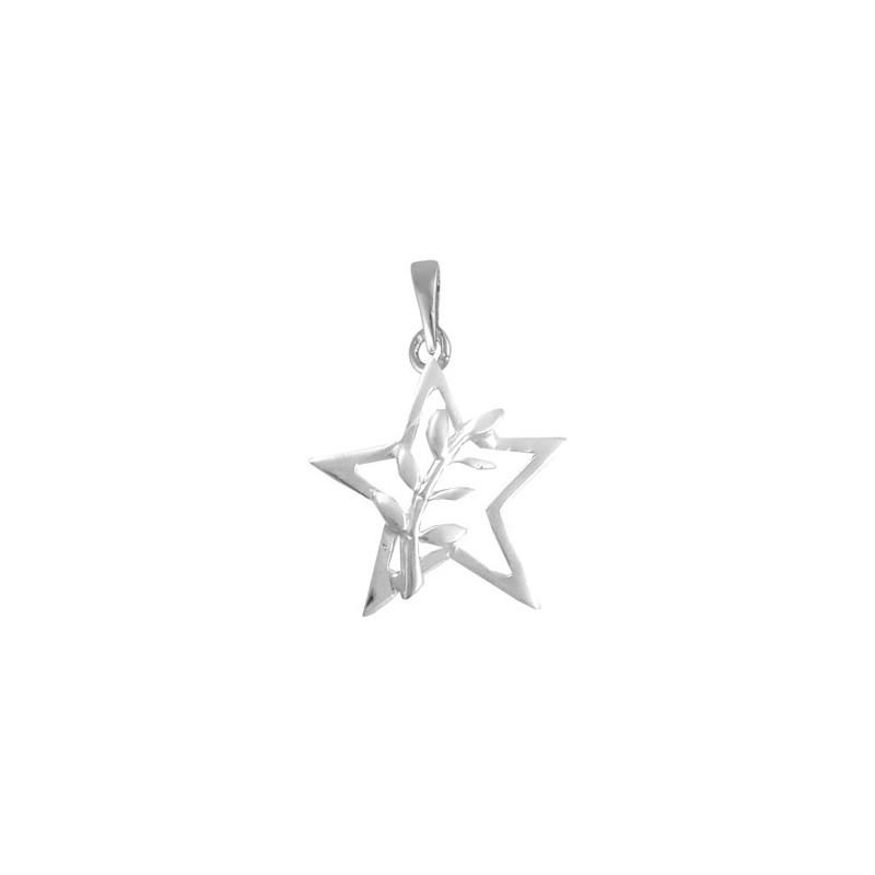Pendentif ou pin's étoile et acacia argent - La Petite Française