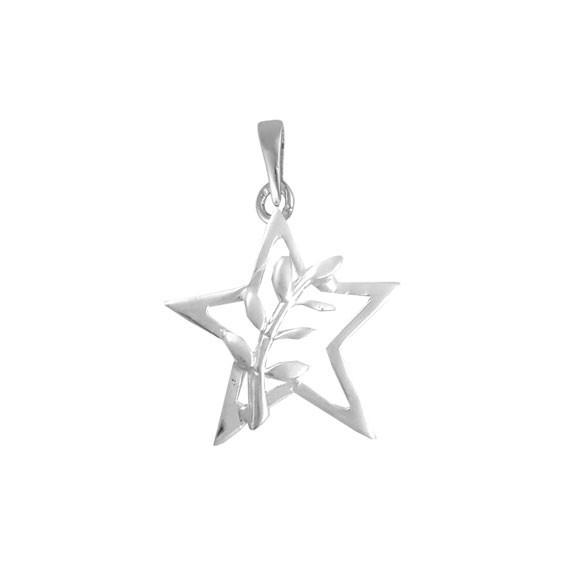 Pendentif ou pin's étoile et acacia Or 9 carats gris - La Petite Française