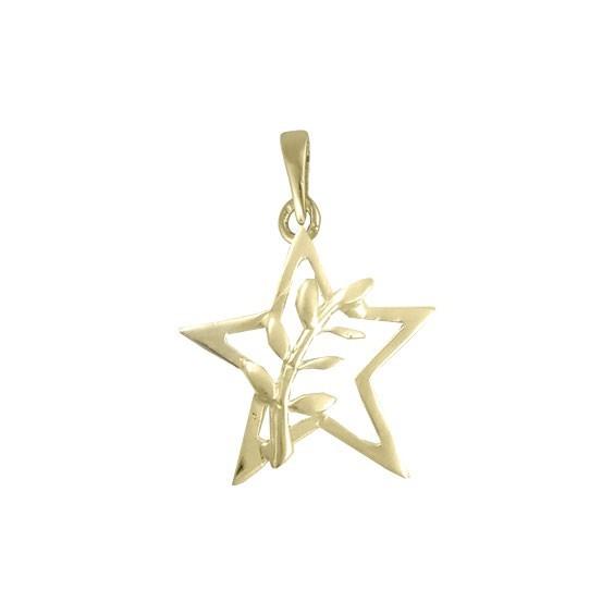 Pendentif ou pin's étoile et acacia Or 9 carats jaune - La Petite Française