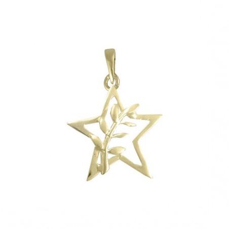 Pendentif ou pin's étoile et acacia Or 14 carats jaune - La Petite Française
