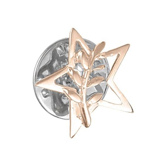 Pendentif ou pin's étoile et acacia Or 18 carats rose - La Petite Française
