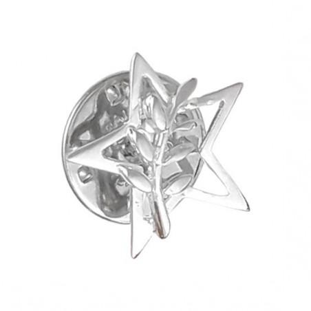 Pendentif ou pin's étoile et acacia Or 18 carats gris - La Petite Française