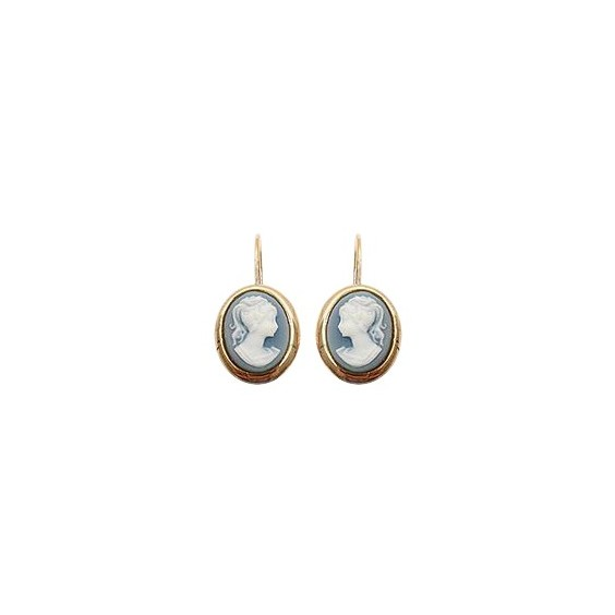 Boucles d'oreilles pendants camées bleus plaqué or
