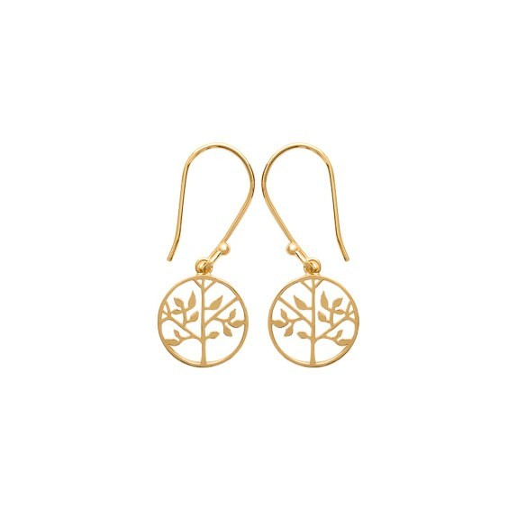 Boucles d'oreilles pendantes arbre de vie plaqué or - La Petite Française