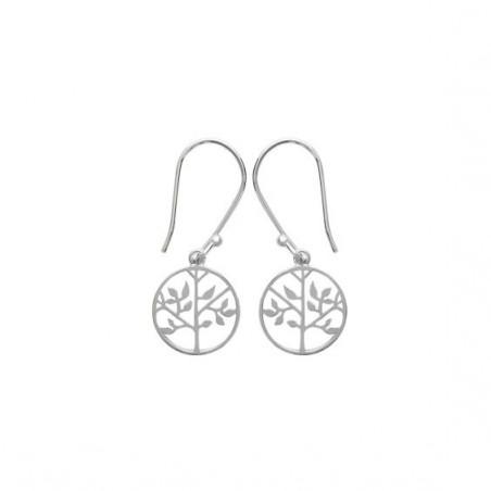 Boucles d'oreilles pendantes arbre de vie argent - La Petite Française