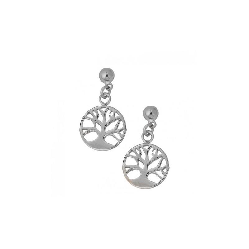 Boucles d'oreilles pendantes arbre de vie avec racines argent - La Petite Française