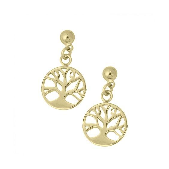 Boucles d'oreilles pendantes arbre de vie avec racines plaqué or - La Petite Française