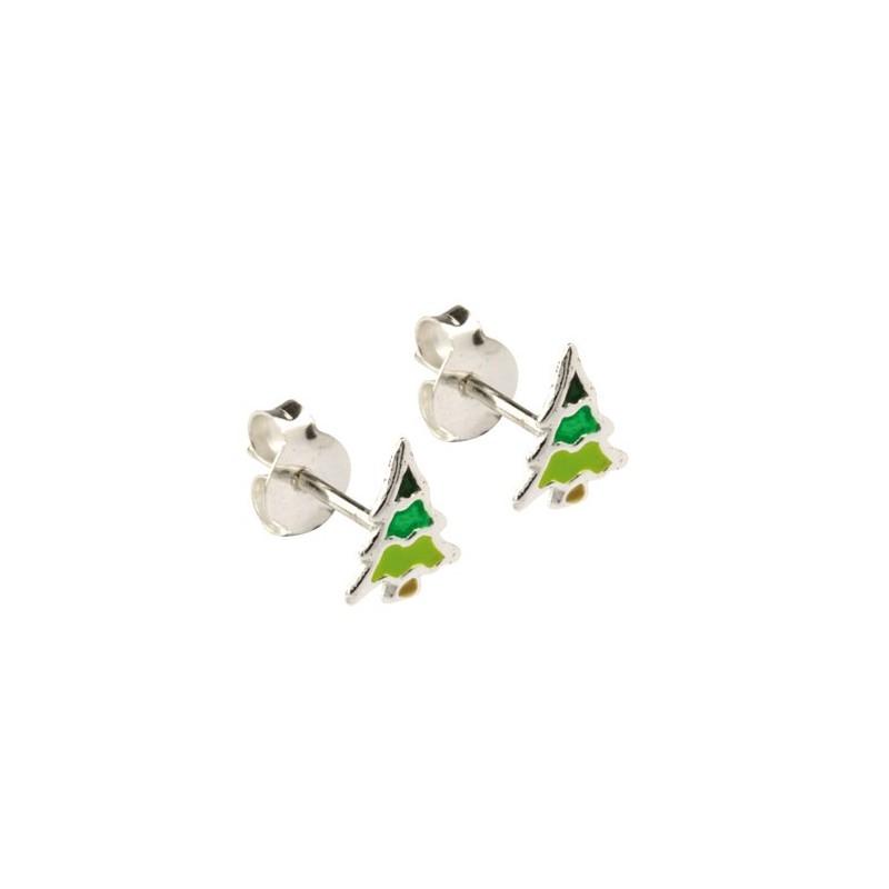 Boucles d'oreilles sapins de Noël argent -  la Petite Française