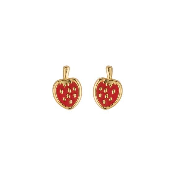 Boucles d'oreilles fraise plaqué or