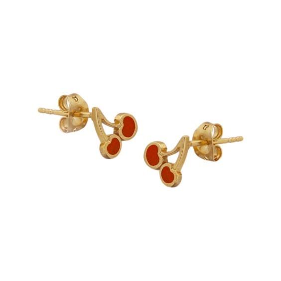 Boucles d'oreilles cerises plaqué or