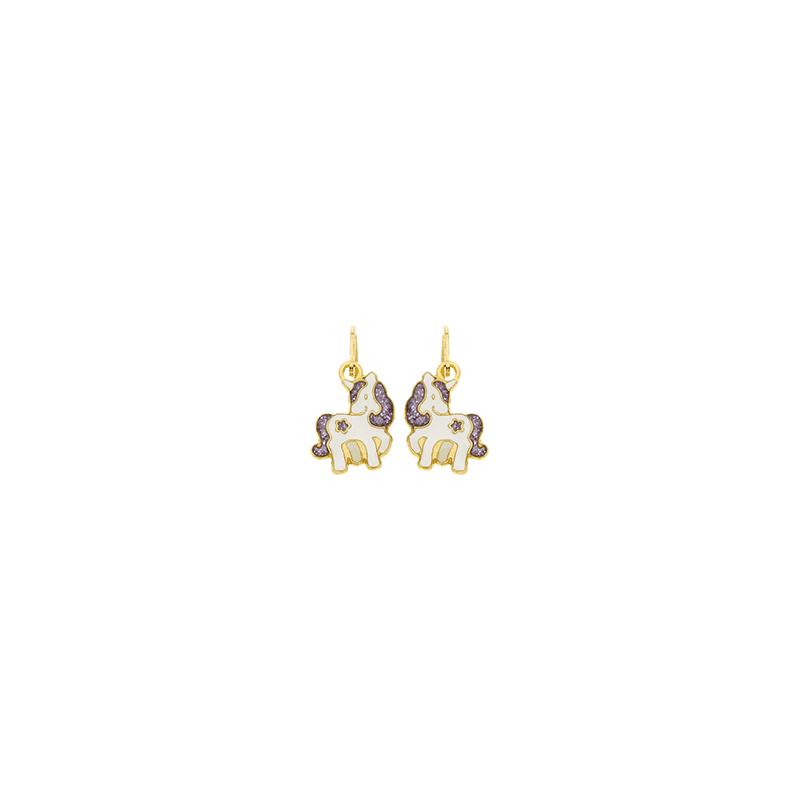Boucles d'oreilles pendantes licorne or 18 carats jaune -  la Petite Française