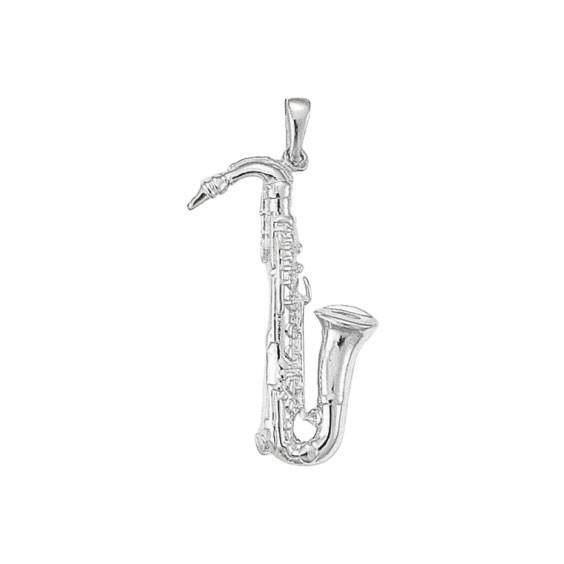 Pendentif saxophone argent - 42 MM -  la Petite Française