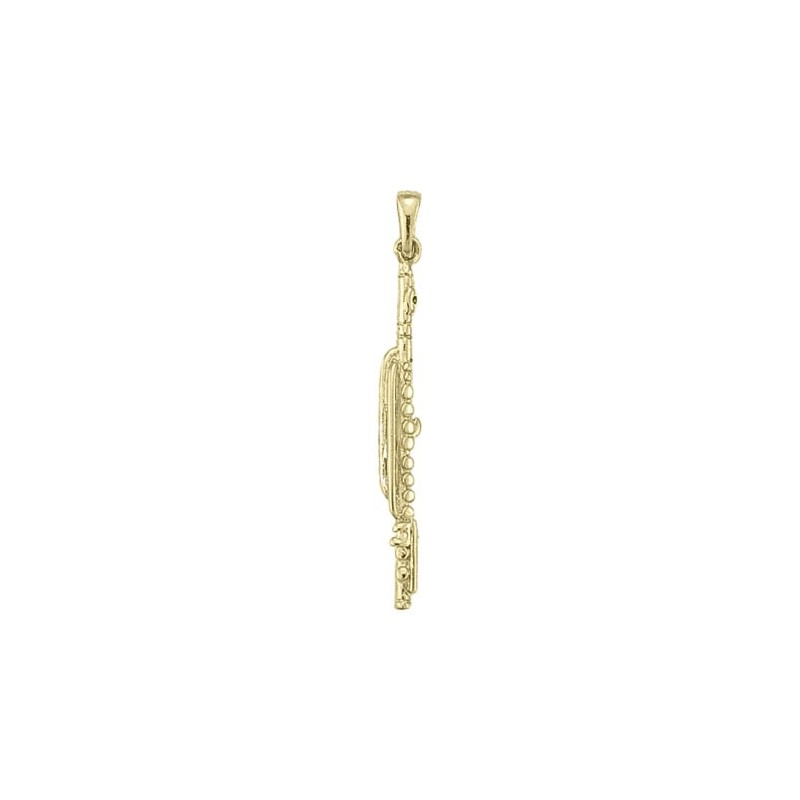 Pendentif flûte traversière Or 18 carats jaune - 40 MM -  la Petite Française