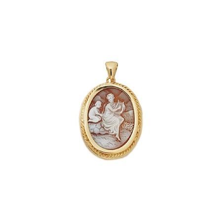 Pendentif camée femme à la harpe Or 18 carats jaune -  la Petite Française