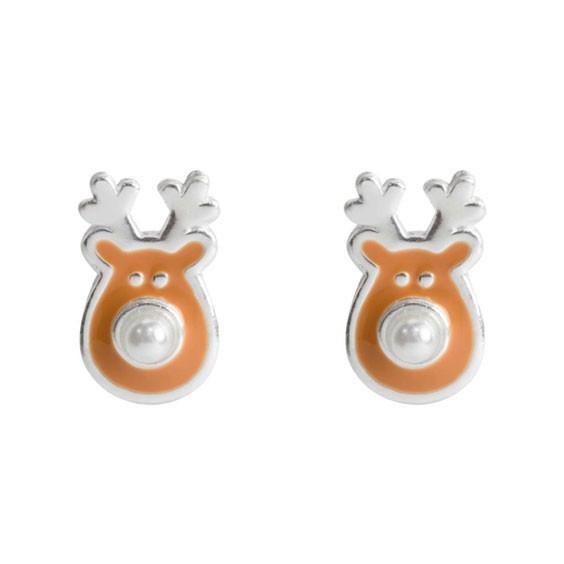 Boucles d'oreilles renne de Noël  argent - La Petite Française
