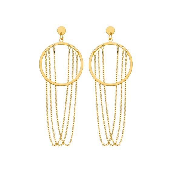 Boucles d'oreilles pendantes chaînettes et cercle Or 9 carats jaune