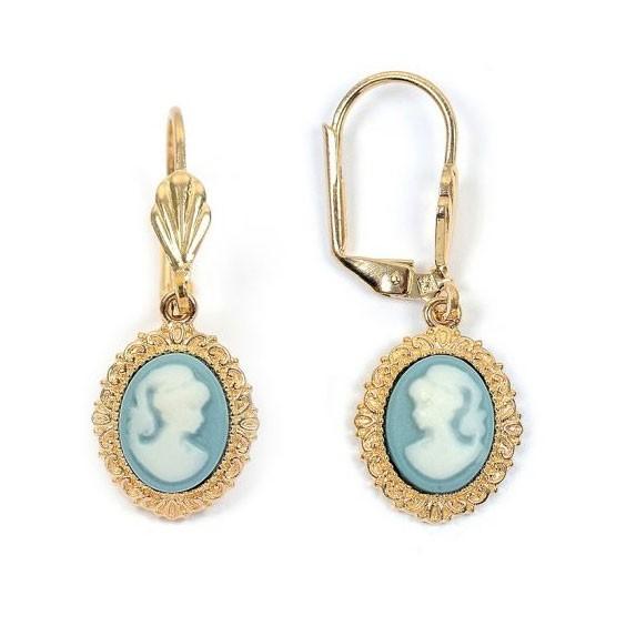 Boucles d'oreilles dormeuses camées bleu dentelle plaqué or - La Petite Française