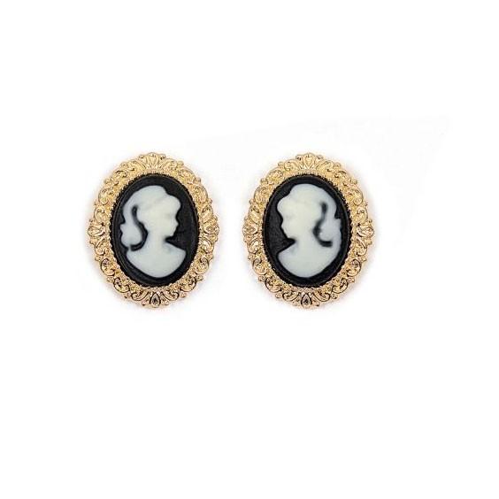 Boucles d'oreilles puce camées noir dentelle plaqué or - La Petite Française