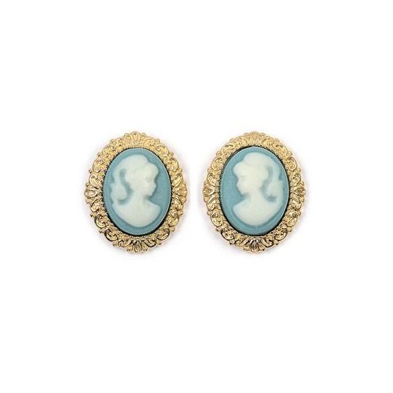 Boucles d'oreilles puce camées bleu dentelle plaqué or - La Petite Française
