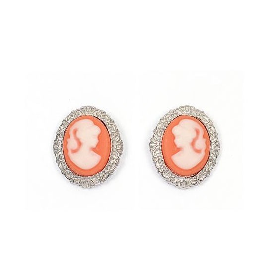 Boucles d'oreilles puce camées corail dentelle argent - La Petite Française