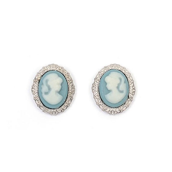 Boucles d'oreilles puce camées bleu dentelle argent - La Petite Française