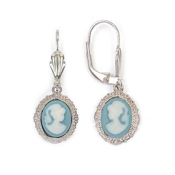 Boucles d'oreilles dormeuses camées bleu dentelle argent - La Petite Française