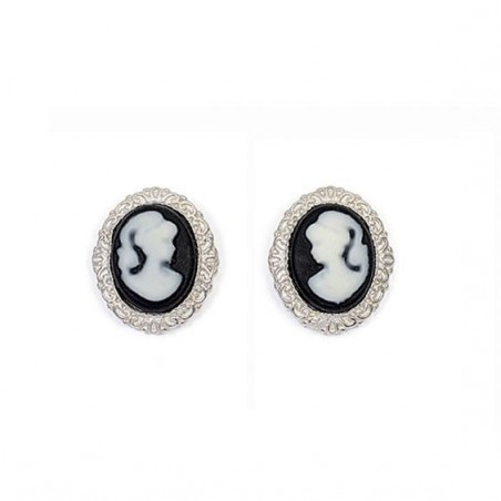 Boucles d'oreilles puce camées noir dentelle argent - La Petite Française